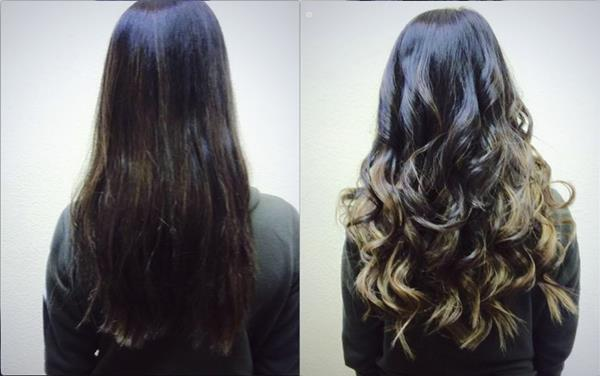 hair extensions before after ombre sparks